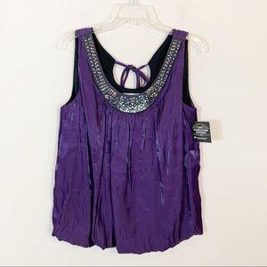 NWT Dressbarn • Purple Shimmer Embellished Tank 1X